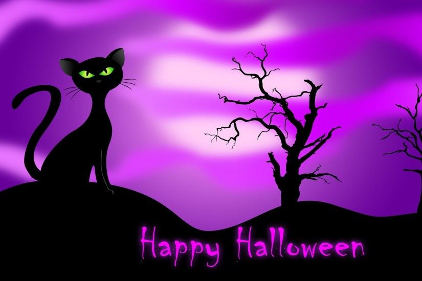 desktop background halloween cat ; Black-Cat-VEctor-Halloween-Wallpaper
