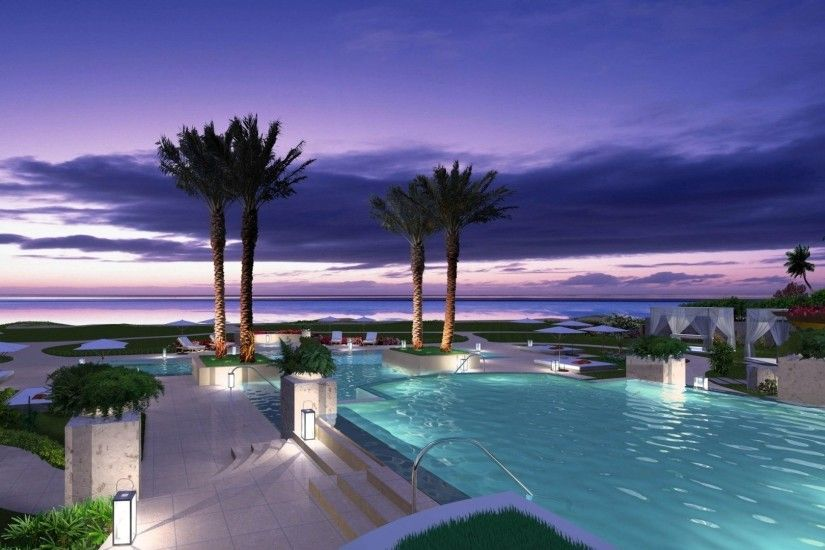 Beaches Beach Trees Resorts Tropical Resort Pools Nature Dusk Night Palms  Oceans Sunset Purple Wallpaper Iphone