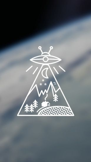 Made a little UFO/nature wallpaper.