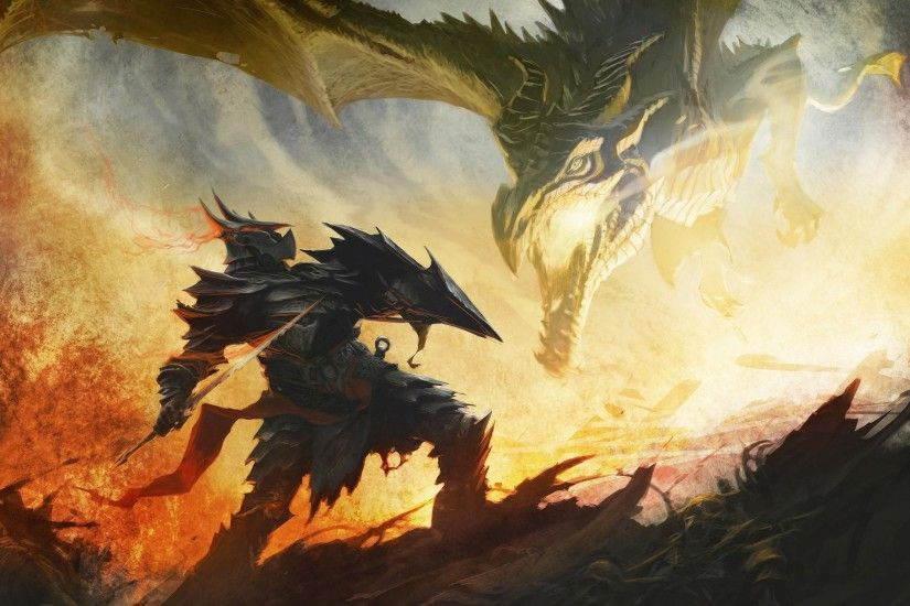 Wallpaper The elder scrolls, Dragon, Warrior, Armor, Fire, Battle