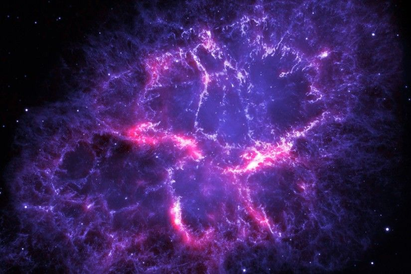This image shows a composite view of the Crab nebula, an iconic supernova  remnant in