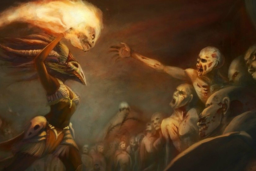Preview wallpaper diablo 3, witch doctor, zombie, art, sorcerer 1920x1080