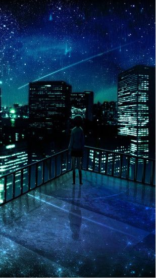 Girl Looking At Falling Star Android Wallpaper ...