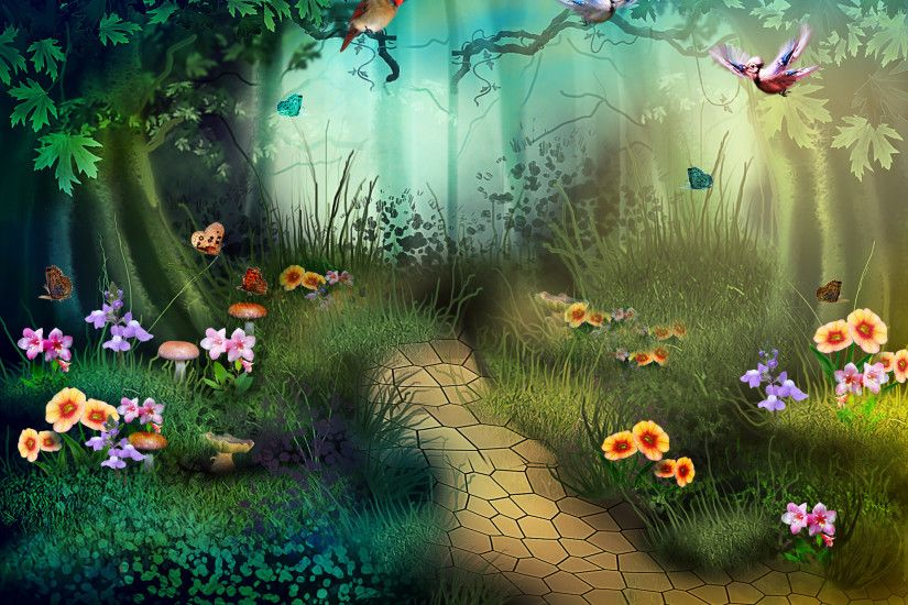 Artistic - Forest Artistic Fantasy Tree Path Stone Flower Grass Bird  Wallpaper