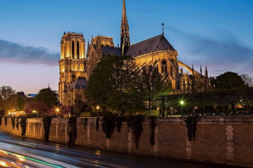 Notre Dame Cathedral Paris National Geographic Landscapes Mountains Nature  Bank River City Dusk Lights Wall Desktop Wallpapers - 1920x1080