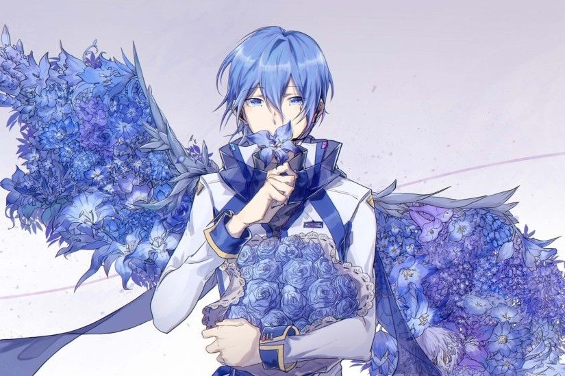 Kaito, Blue Flowers, Wings, Vocaloid, Blue Hair