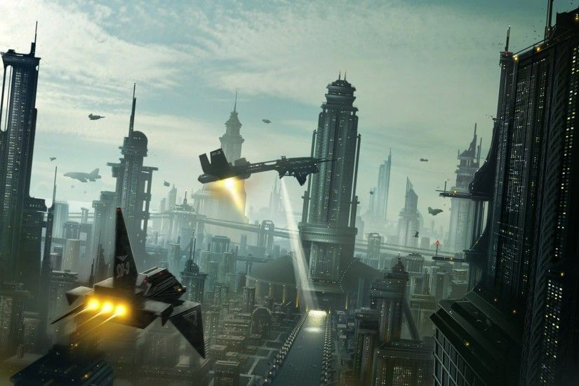 ... Sci-fi City HD desktop wallpaper : Widescreen : Fullscreen .