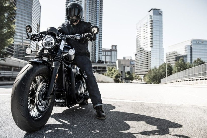 2018 Triumph Bonneville Bobber Black HD wallpaper