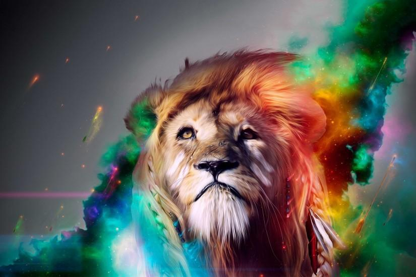 Lion rainbow art Wallpapers Pictures Photos Images · «