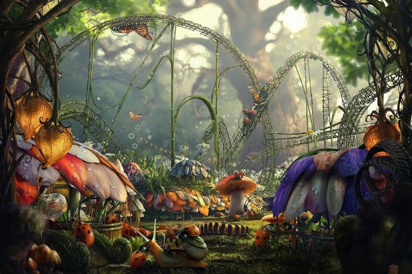 Fairytale Forest Insects City - Nature Wallpapers