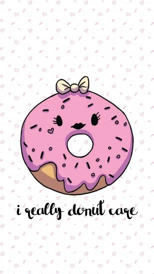 ... I Really Donut Care - Pink Donut Wallpaper