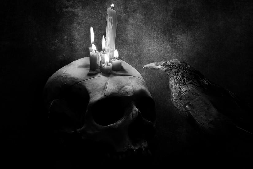 Preview wallpaper crow, bird, drawing, skull, candle 1920x1080