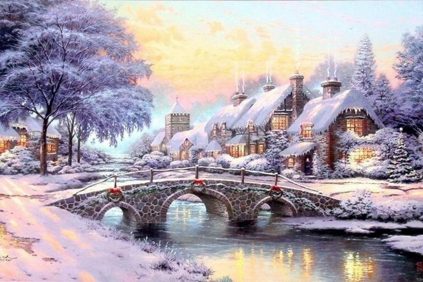 thomas kinkade christmas village | Thomas Kinkade Wallpaper, Paintings,  Art, HD, Desktop