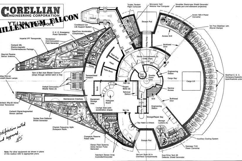 Star Wars, Millennium Falcon, Blueprints, Monochrome Wallpaper HD