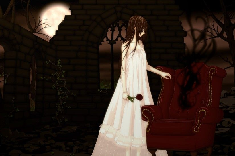 Preview wallpaper vampire knight, yuki cross, chair, girl, dress, flower  1920x1080
