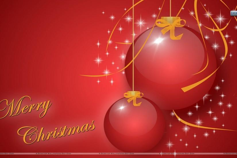 awesome merry christmas red wallpaper. beautiful balls hanging image pic