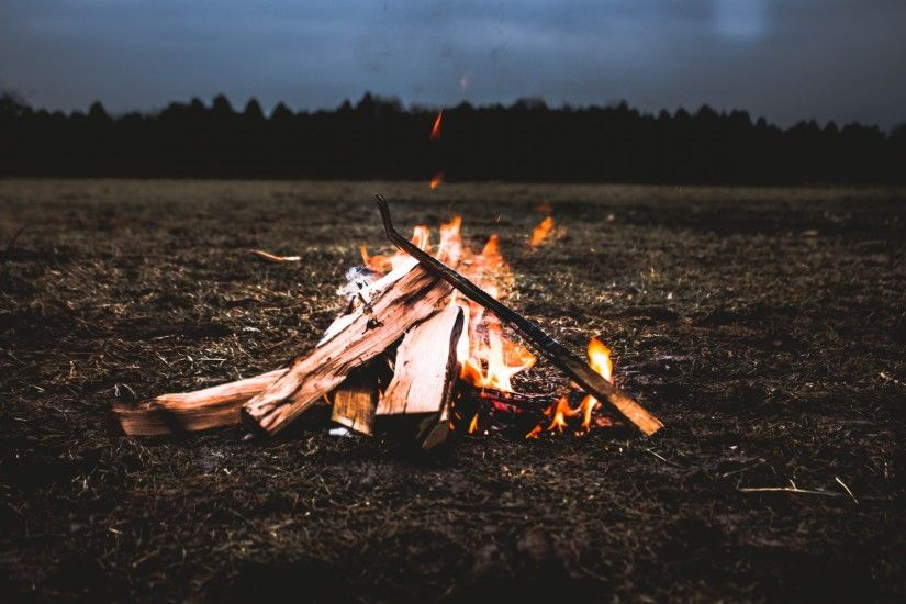 Bonfire, Campfire, Night, Field, Firewood