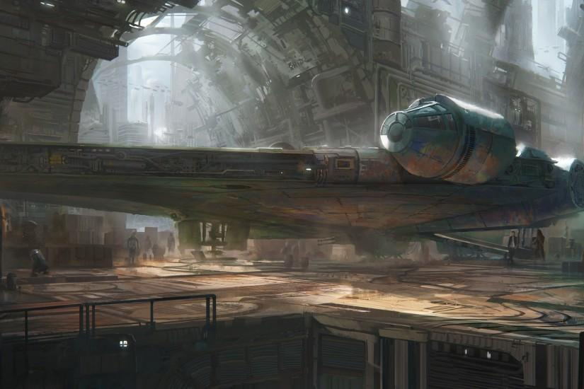 artwork, Science Fiction, Star Wars, Millennium Falcon Wallpaper HD