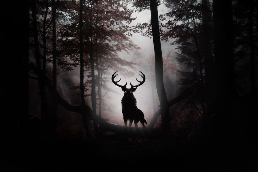 Framed Print - Evil Stag in a Gothic Horror Dark Forest (Picture Poster Wood )