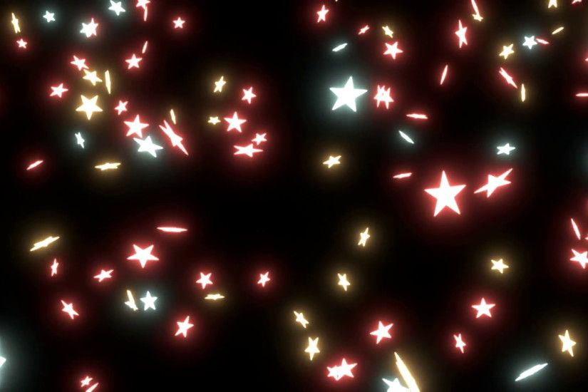 Subscription Library Animated falling stars on black background. Most stars  are with glowing warm colors (red