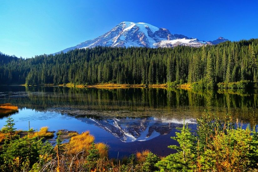 Mount Rainier National Park Reflection Lake forest lake mountains water  reflection trees autumn wallpaper | 2000x1225 | 919031 | WallpaperUP