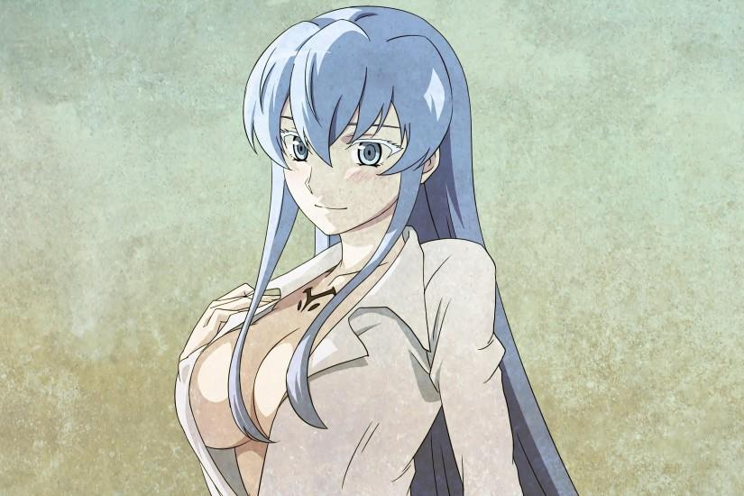 Anime 3840x2160 anime anime girls Akame ga Kill! Esdeath cleavage open  shirt blue hair blue