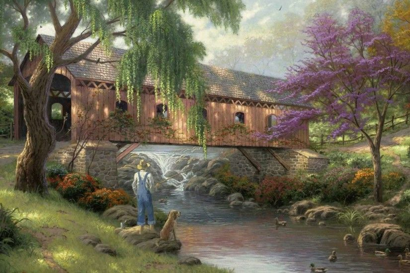 old fishin hole thomas kinkade painting art bridge river .