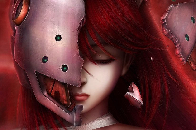 1920x1080 Wallpaper elfen lied, lucy, art, girl, hair, face, anime