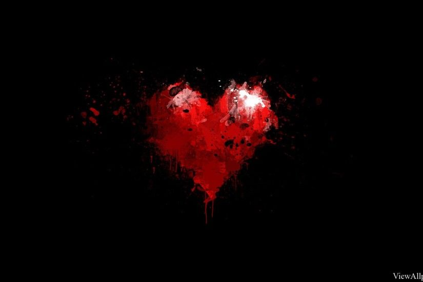 Painted Red Heart on Black Background Wallpaper