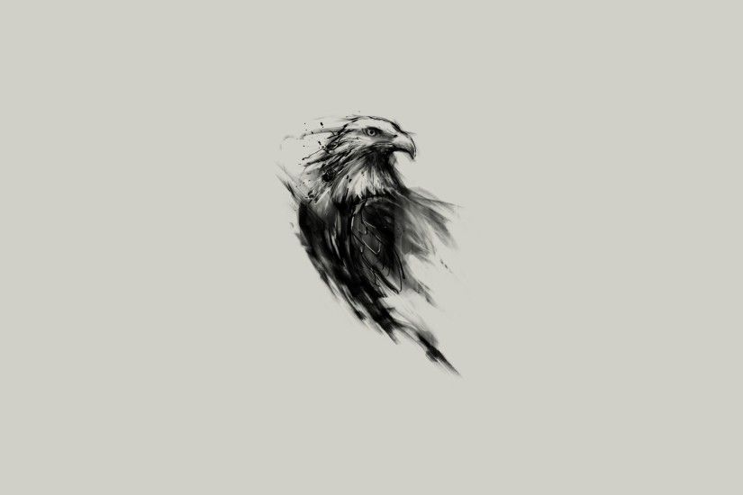eagle, Bald Eagle, Birds, Simple Background, Sketches, Monochrome, Animals,  Simple, Artwork, Digital Art Wallpapers HD / Desktop and Mobile Backgrounds