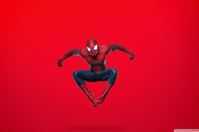 Spider Man Jumping (Red Background) HD Wide Wallpaper for Widescreen