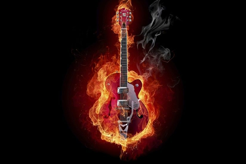 Preview wallpaper guitar, fire, instrument, smoke, background 3840x2160