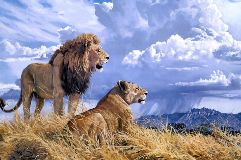 ... Canines cats couple lioness lion profile wallpaper | 7069x4912 .
