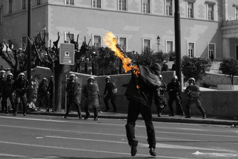 It's an anarchist throwing a molotov, ...