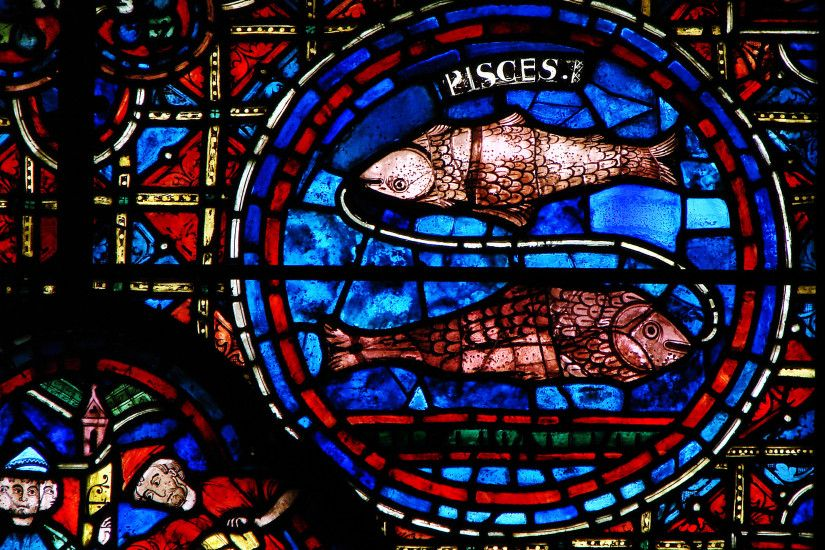 Pisces, stained glass