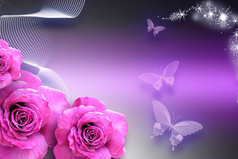 purple rose butterfly background 8