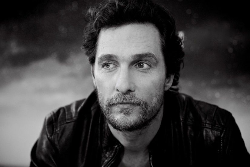 Preview wallpaper matthew mcconaughey, american actor, black and white,  screenwriter, director,