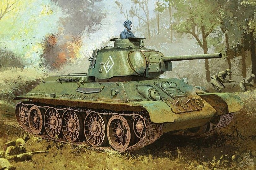 Late 1943 T-34/76, artist's rendering (probably model kit box art