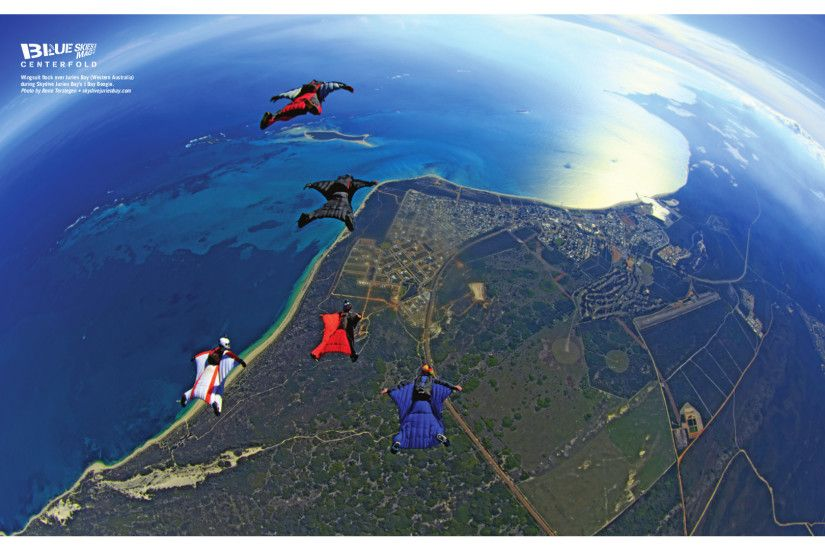 Wingsuit flock over Jurien Bay in Western Australia during Skydive Jurien  Bay's J Bay Boogie.
