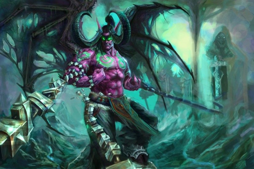world of warcraft wow illidan stormrage demon horn wings chains fury