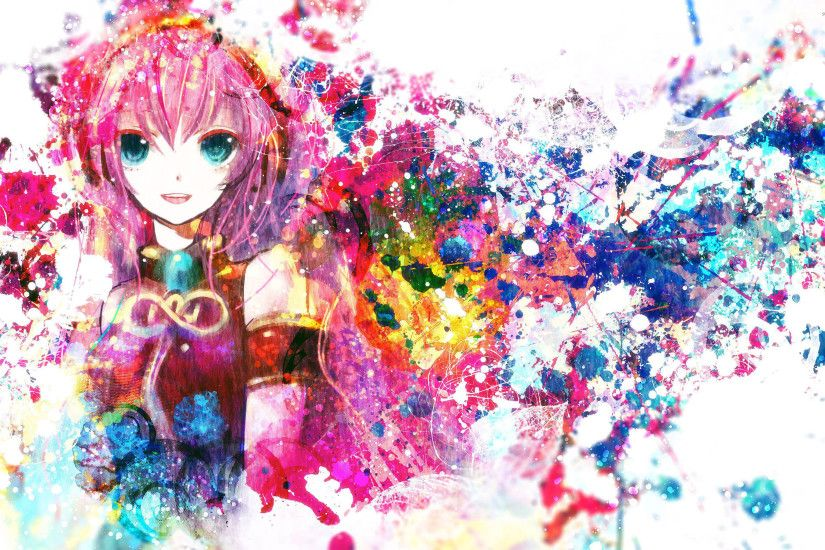 Paint splash of Megurine Luka - Vocaloid wallpaper