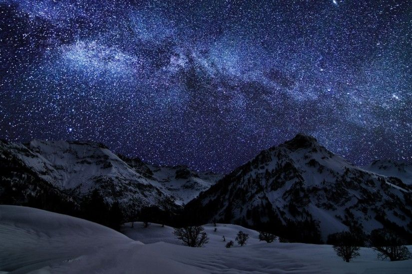 ... starry night mountains galaxy stars trees snow skies wallpaper ...