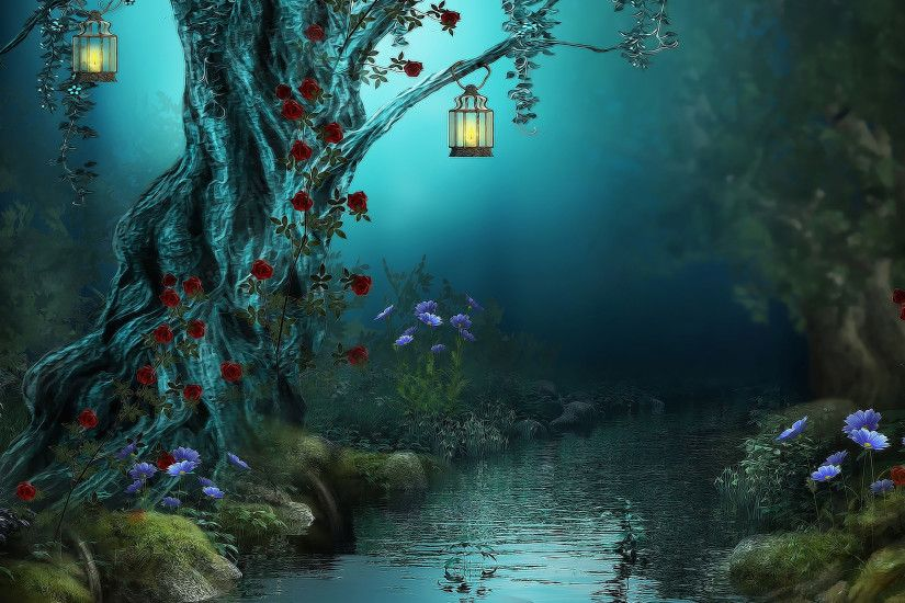 Night time in the blossoming forest Digital Art HD desktop wallpaper, Rose  wallpaper, River wallpaper, Lamp wallpaper, Night. Tree wallpaper - Digital  Art ...