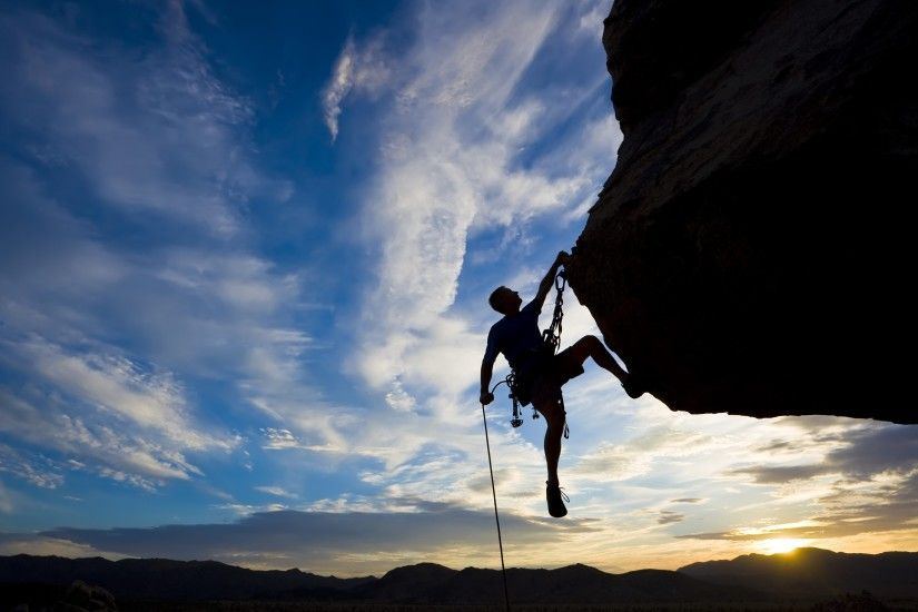 Preview wallpaper climber, extreme, silhouette, climbing, rock,  difficulties sunset 3840x2160