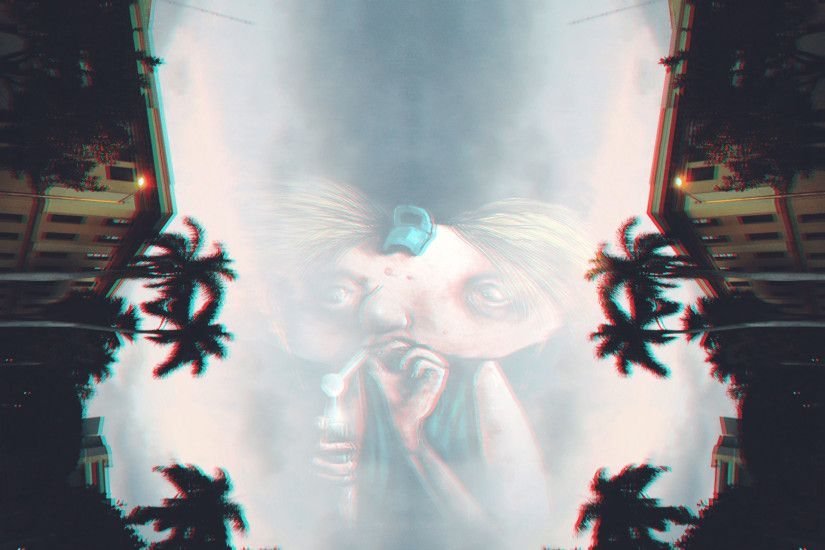 Hey Arnold!, Sky, Palm trees, Anaglyph 3D, Drugs Wallpapers HD .