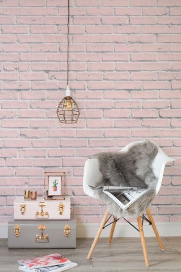 Bring some rustic chic into your home with this pink brick wallpaper  design. It's girly
