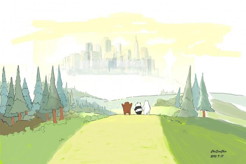 Anime 1952x1344 cartoon We Bare Bears drawing