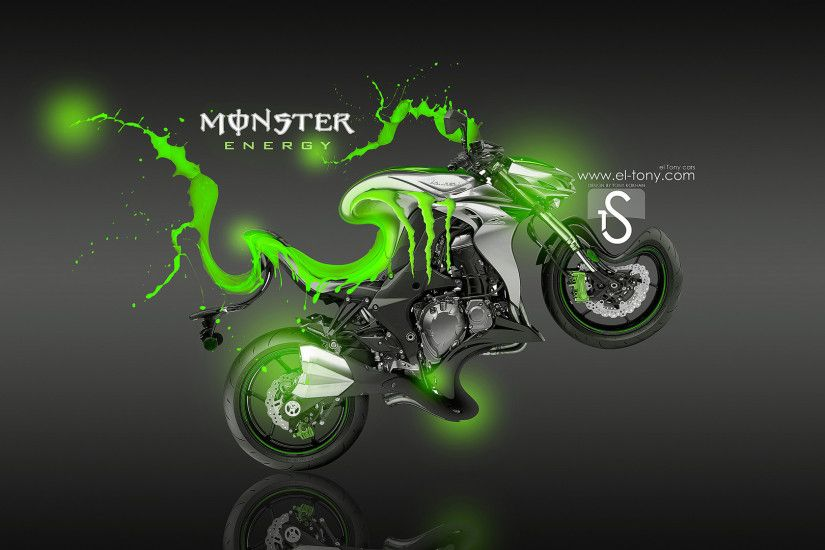 Monster Energy Moto Kawasaki Z1000 Fantasy Green Acid