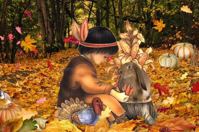 Autumn Leaves Firefox American Forest Fall Native Thanksgiving Boy Rabbits  Pumpkins Persona Child Indian Turkey Gourds Bird Woods November HD  Wallpapers - ...
