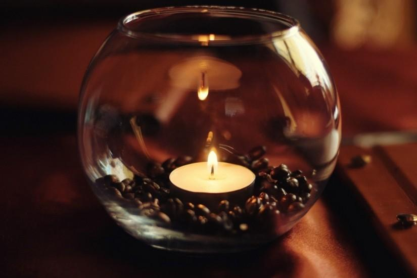 Candle light in glass bowl superb wallpapers
